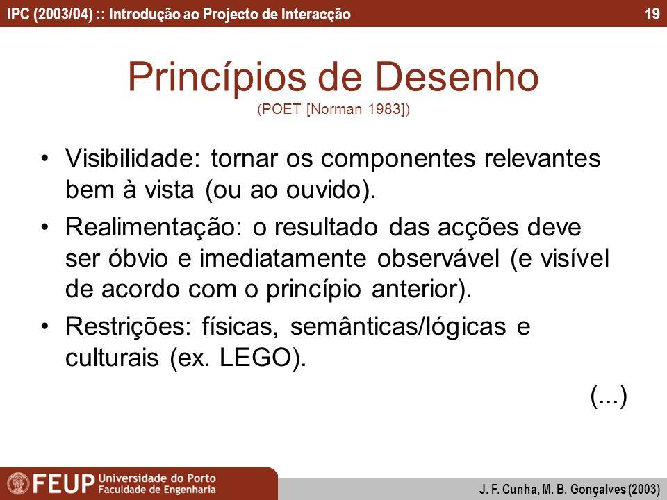 Princípios de Desenho (POET [Norman 1983])